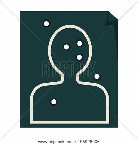 Paper target with human silhouette and bullet holes isolated vector illustration on white background. Equipment for police officers training program. Special aim for shooting skill improvement.