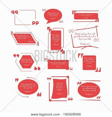 Confucius quotations in red frames of round and square geometric forms with inverted commas in various fonts isolated flat vector illustrations set on white background. Original design of citations.