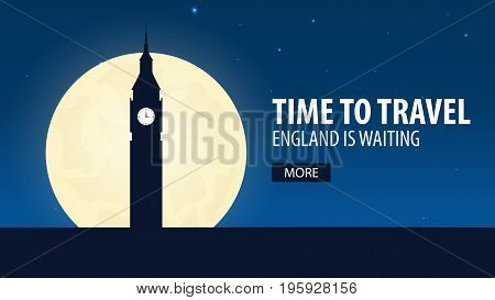 Time To Travel. Travel To England. England Is Waiting. Vector Illustration.
