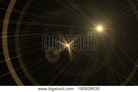 abstract of lighting digital lens flare in dark background.Golden lens flare.