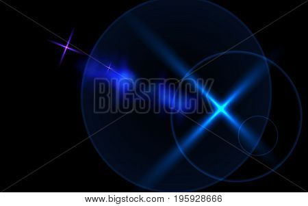 Abstract lens flare light over black background horizontal.Cross star flare effects.