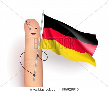Germany flag waving. Politics and International Relations concept. Cute finger holding pole. Realistic vector illustration on white background