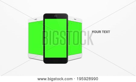 White and Black Smartphone with green screen on white background.Mobile phone set with green screen