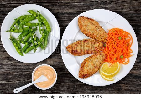 Juicy Chicken Turkey Cutlets With Salad