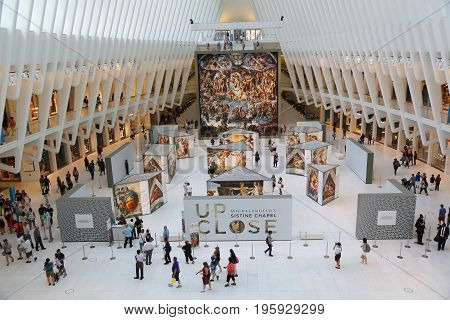 NEW YORK - JULY 16, 2017: Michelangelo's Sistine Chapel Up Close exhibition by Westfield taking place at the World Trade Center Oculus in New York