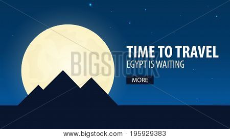 Time To Travel. Travel To Egypt. Egypt Is Waiting. Vector Illustration.