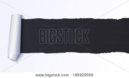 Realistic torn open paper with space for text on black background, holes in paper. Torn strip of paper with uneven, torn edges. Coiling torn strip of paper