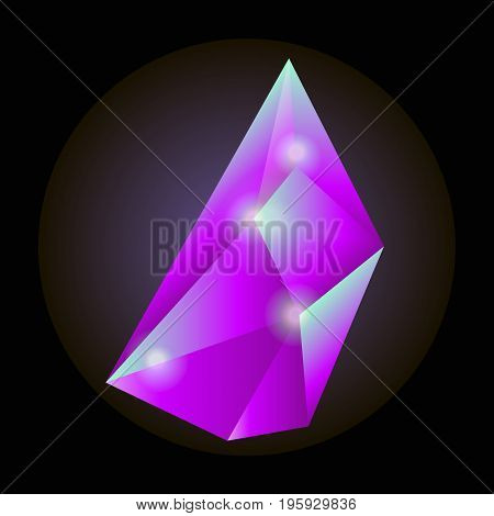 Luminous crystal of neon crimson color with sharp uncut edges isolated vector illustration on black background. Bright natural expensive precious stone that spreads light beams in darkness.