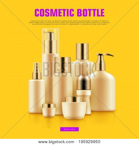 Realistic cocmetic mockup. Package with golden caps for anti-aging creams, cleansers, moisturizers set. Luxury beauty and health concept. Realistic vector illustration on yellow background