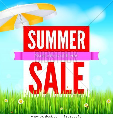 Sale an all kinds of items. Summer hot discounts. Selling ad banner. Sun summer background with sun umbrella green field, white clouds and blue sky. Template for shopping, advertising.