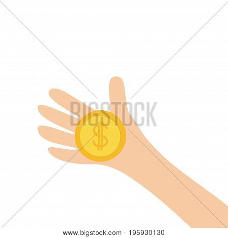 Hand arm holding dollar sign golden coin money. Helping hands concept. Close up body part. Business donation. Flat design style. White background. Isolated. Vector illustration