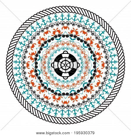 Abstract mandala style - beach concept, summer, journey, travel - Vector Illustration
