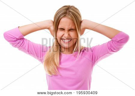 Emotions,expressions,people concept.Young girl holding to her head on white background