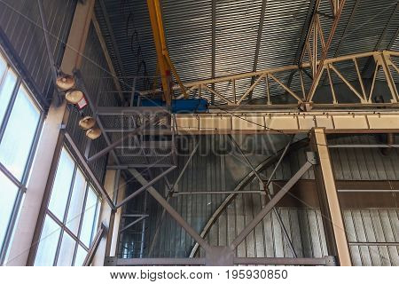 Fragment Of Overhead Crane In The Assembly Workshop