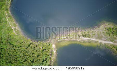 Sauriesi Lake Aerial Drone Top View Latvia