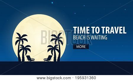 Time To Travel. Beach Is Waiting. Vector Illustration.