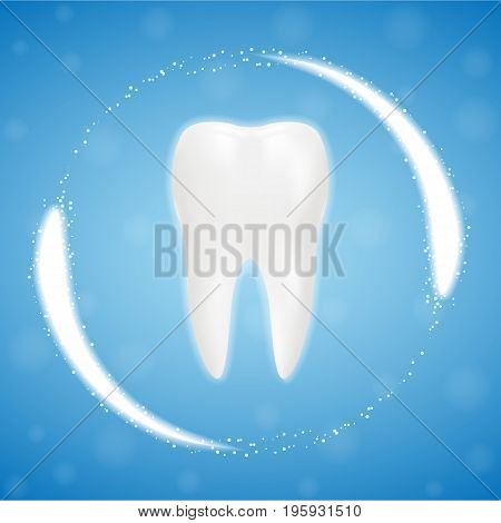 3d Realistic Clean Tooth, Clearing Tooth Process. Teeth Whitening. Dental Health Concept. Oral Care, Teeth Restoration Isolated On A Background. Realistic Vector Illustration. Healthcare stomatology and cleaning professional teeth illustration