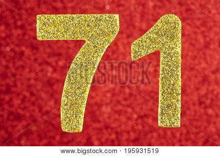 Number seventy-one gold color over a red background. Anniversary. Birthday