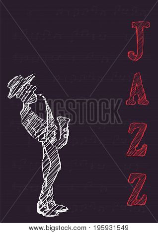 Poster for jazz music festival or concert. The musician plays the saxophone on dark background.