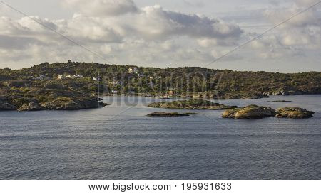 Small houses and boats in the Gothenburg archipelago.