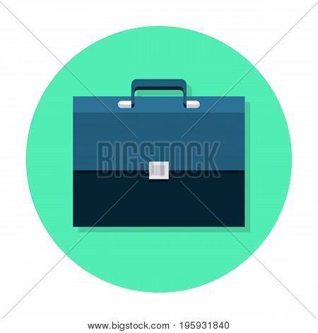 Briefcase flat icon. Web and mobile design element. Business luggage, work portfolio symbol. Internet icon in rounded shape. Vector colored illustration.