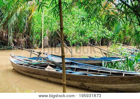 Boats on the Mekong River estuary in Can Tho Province in Vietnam