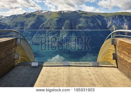 Norwegian fjord landscape. Stegastein viewpoint. Aurland. Visit Norway. Horizontal