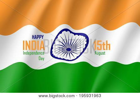 India happy independence day. Politics and geography concept. Educational or festive poster. Realistic vector illustration on white background