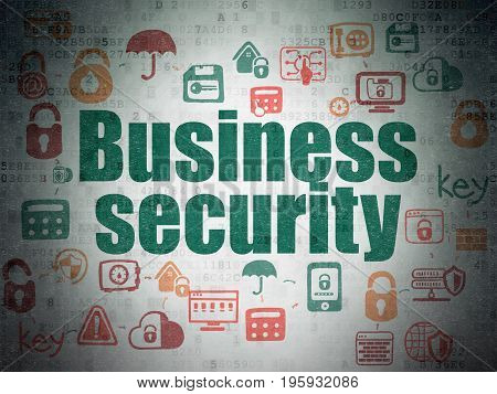 Security concept: Painted green text Business Security on Digital Data Paper background with  Scheme Of Hand Drawn Security Icons