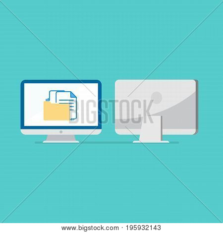 flat computer design with front and back side vector on blue background.Computer with file in folder on screen.