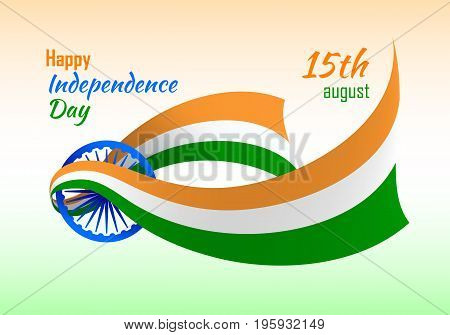 India happy independence day. Indian flag creative variant. Politics and geography concept. Educational or festive poster. Realistic vector illustration on white background