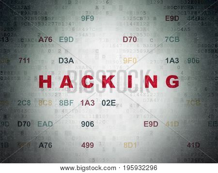Privacy concept: Painted red text Hacking on Digital Data Paper background with Hexadecimal Code