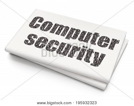 Protection concept: Pixelated black text Computer Security on Blank Newspaper background, 3D rendering