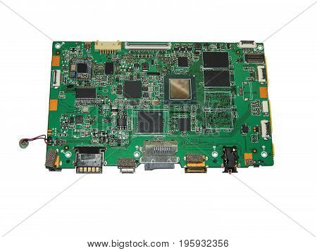 Motherboard tablet computer. Isolated on white background.