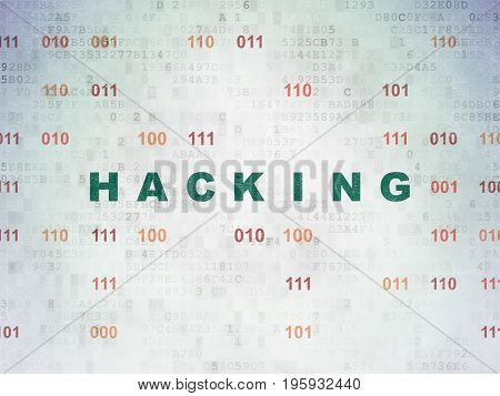 Privacy concept: Painted green text Hacking on Digital Data Paper background with Binary Code
