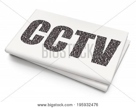 Safety concept: Pixelated black text CCTV on Blank Newspaper background, 3D rendering