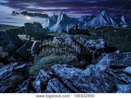 Rocky Peaks And Rocks On Hillside In Tatras At Night