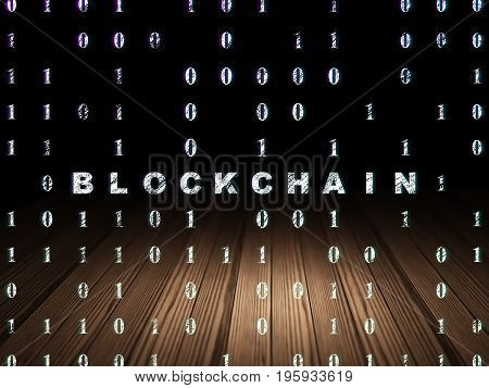 Business concept: Glowing text Blockchain in grunge dark room with Wooden Floor, black background with Binary Code