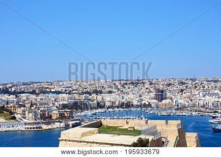 VALLETTA, MALTA - MARCH 30, 2017 - View towards Senglea and Vittoriosa seen from Valletta Valletta Malta Europe, March 30, 2017.
