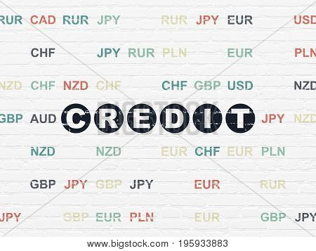 Finance concept: Painted black text Credit on White Brick wall background with Currency