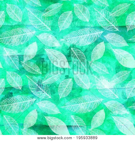 Seamless background pattern with leaf silhouettes on abstract teal green organic shapes and faded blue stripes, vibrant watercolor repeat print