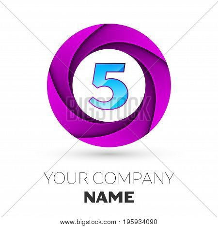 Realistic number five vector logo symbol in the colorful circle on white background. Vector template for your design