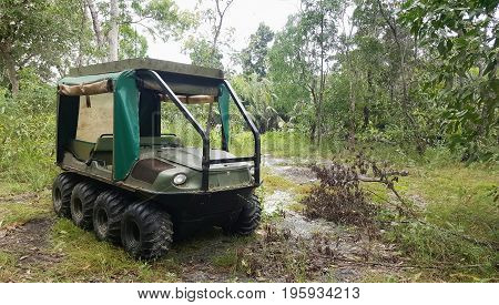 amphibious 8 wheel Drive All Terrain Vehicle in the bush