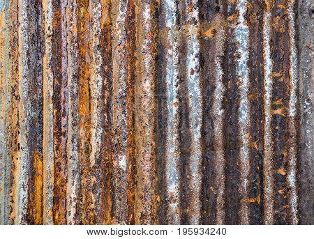 rusty on metal corrugated sheet,  rusty  corrugated texture