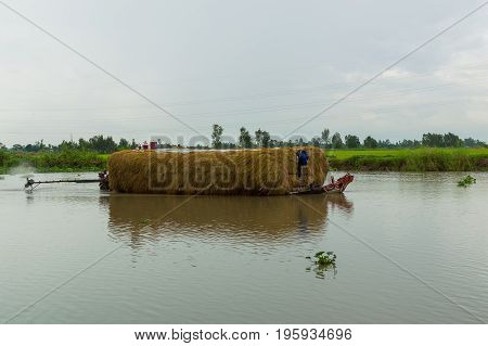 Working barge with hay in small river in the Mekong delta Vietnam