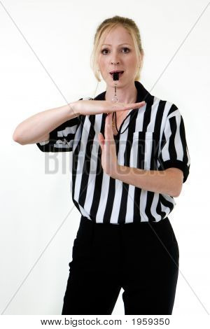 Woman Referee With Whistle