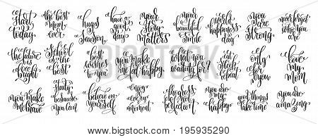 set of 25 black and white hand lettering inscription positive quote, calligraphy vector illustration collection
