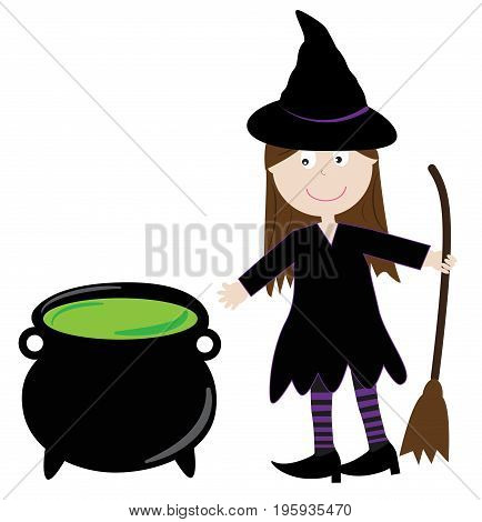 Happy Halloween Witch with Magic Potion Cauldron