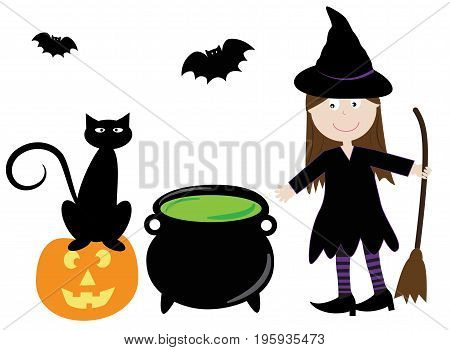 Happy Halloween Witch with Pumpkin Cauldron and Cat