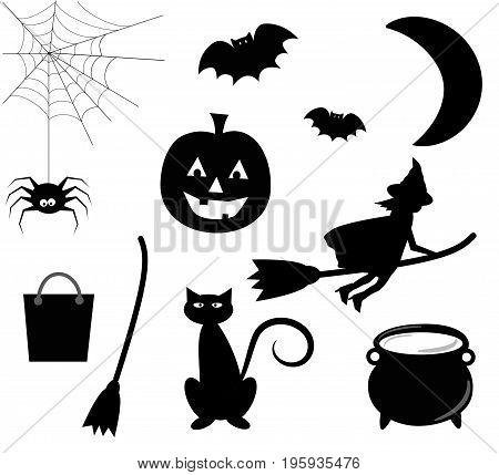 Happy Halloween Icons Pumpkin Bat Witch Cat